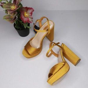 d237920dd37 Forever 21 Size 5.5 Golden Satin Platform Sandals